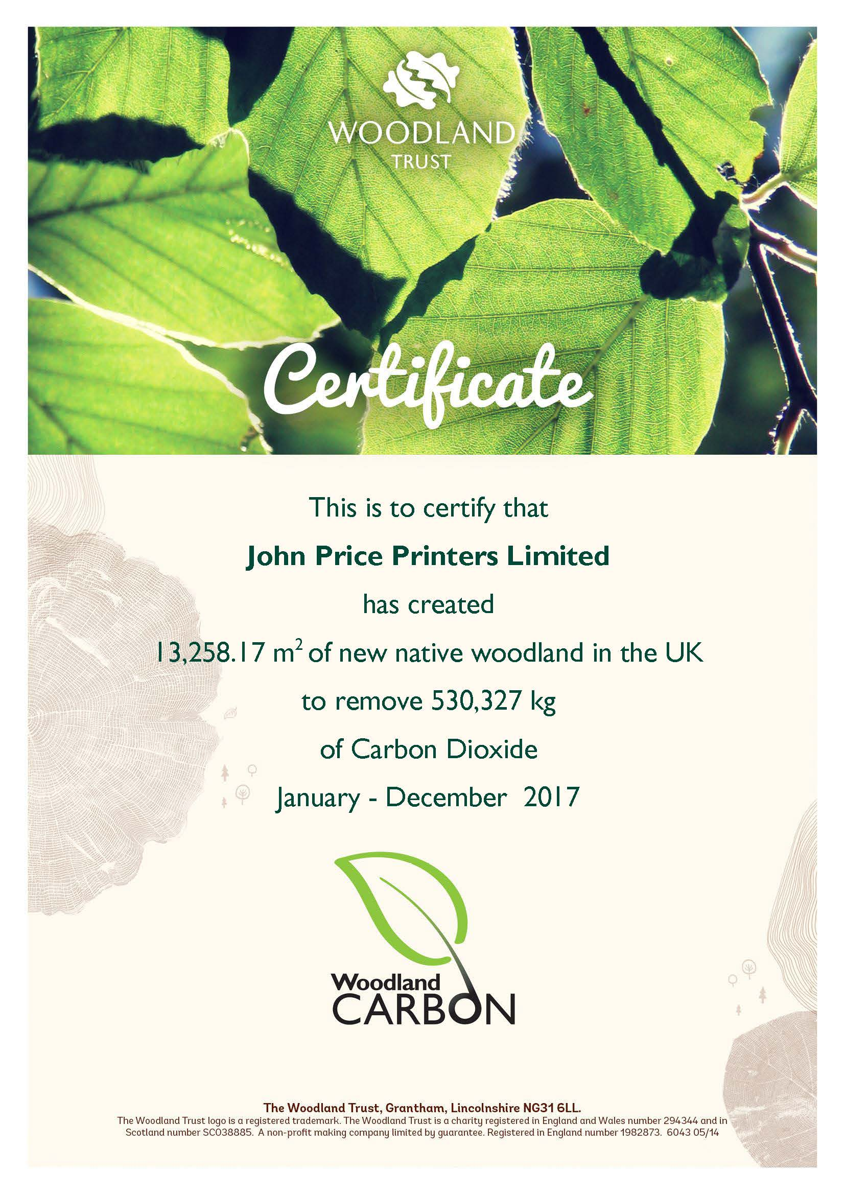 Certificate - John Price Printers Limited